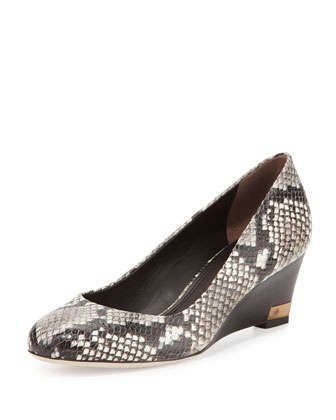Astoria Snake-Print Wedge Pump, Black/White by Tory Burch at Neiman Marcus