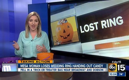 Brooklin Yazzie's desperate plea to get her beloved wedding ring back after she accidentally gave it away with Halloween candy Friday night has been heard around the world. What started out as a local story covered by a Phoenix TV station, has been picked up by numerous news outlets worldwide and has gone viral on the internet. Full story at our blog. http://nordjewelers.thejewelerblog.com
