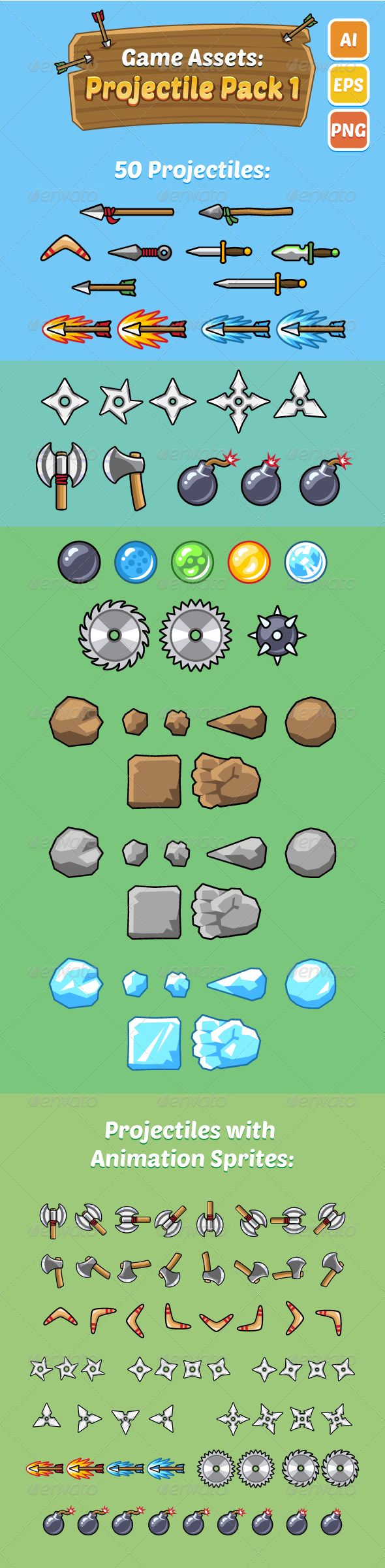 Game Assets: Projectile Pack 1 Download here: https://graphicriver.net/item/game-assets-projectile-pack-1/7654040?ref=KlitVogli