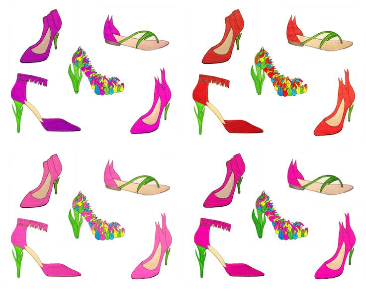 Color options of my collection- I used different tulip species to create different shoe designs.