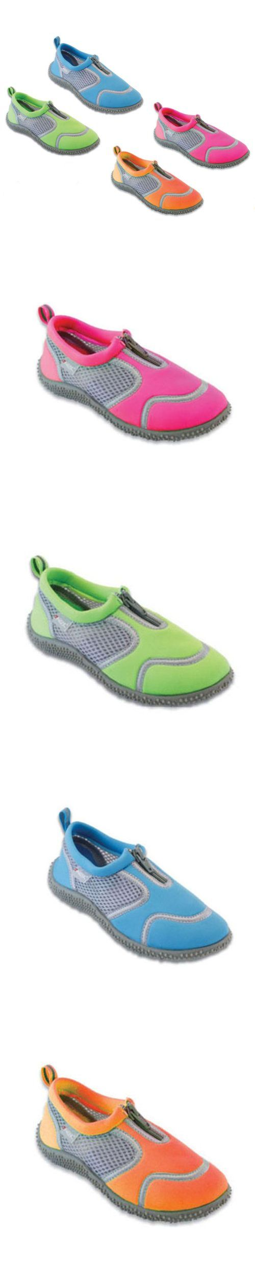 Frisky Zip-Up Toddler Girls Water Shoes Aqua Socks 5-10 - These Frisky water shoes are perfect for active water sports or just wading in the surf. Constructed from quality synthetic material and natural rubber, the uppers feature a pull tab on the back and z... - Water Shoes - Apparel -