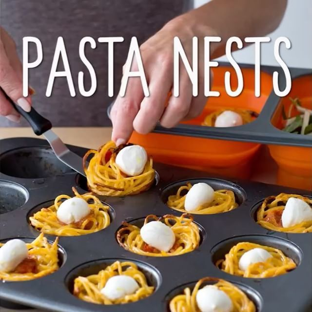 "Leftover pasta? Make @giadadelaurentiis' genius pasta ""nests""  Great for kids' lunch too!"