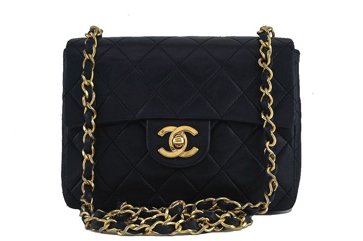 Chanel Black Classic Quilted Square Mini 2.55 Flap Bag 24k Gold plated - The classic CC flap is the token iconic bag for the house of Chanel. This is a smaller version of the classic 2.55 flap, the classic mini flap, with the signature 24k Gold Plated CC flap turnlock clasp opening to a compartment with a side zipper pocket and a side slit pocket. A timeless classic, the 24k Gold Plated chain can be worn on the shoulder, across the body (depending on your size), or doubled up as a small…