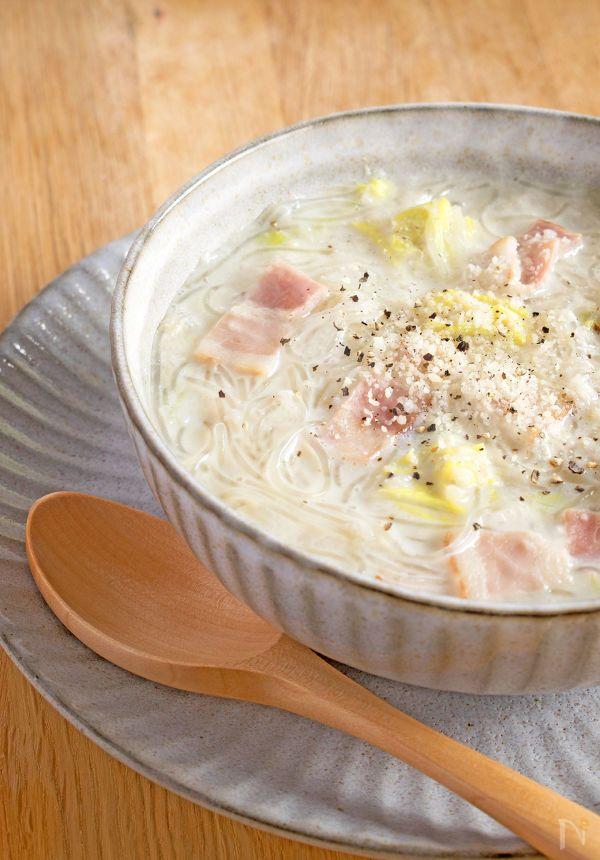 ビタミンCが豊富な白菜とすりおろしれんこん入りのカラダにやさしい、あったか〜いスープです。春雨も入ってボリュームがあるのにヘルシーなので、寒い日の夜食としてもおすすめです。