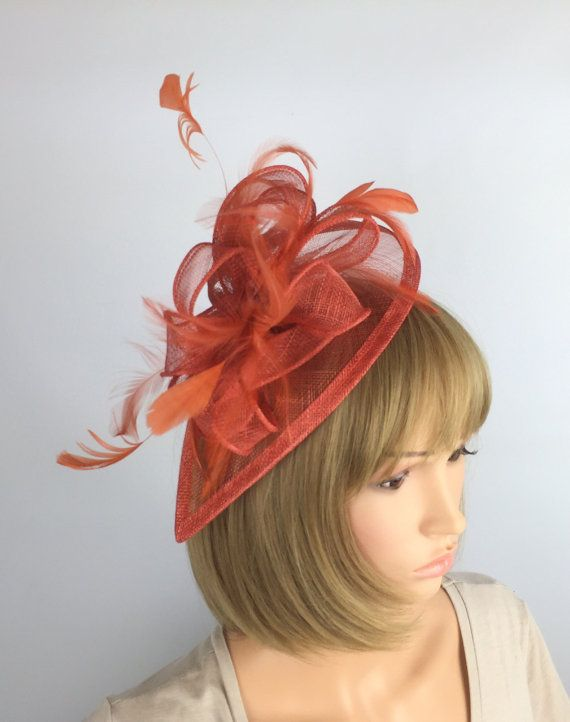 4941588139e8b Rusty Burnt Orange Fascinator Wedding Mother of the bride Ascot Races  Ladies Day Event Prom