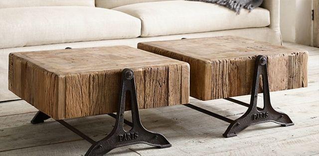 Table basse design rénovée bois et fer