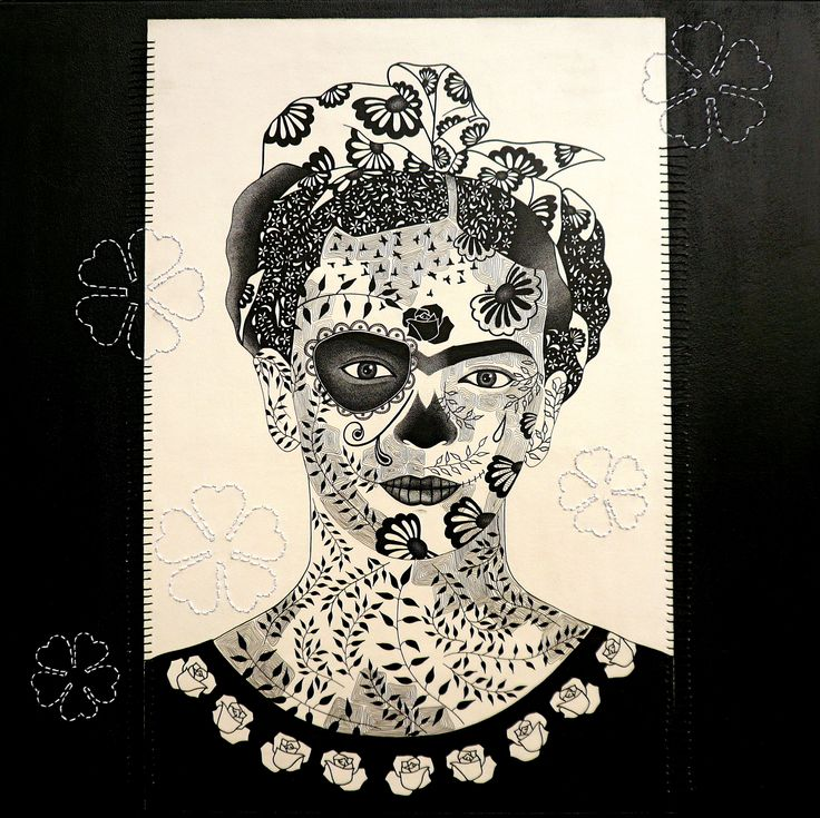 A Homage to Frida Kahlo on her birthday. Artwork by Simone Maynard - pen and ink and hand stitching on canvas. https://www.facebook.com/pages/Simone-Maynard/20215749385