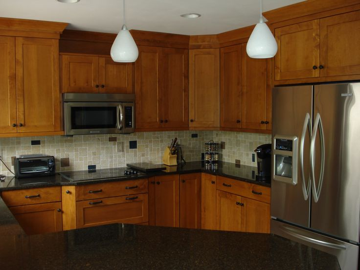 Brookhaven colony nutmeg on maple with cambria countertops for Brookhaven kitchen cabinets