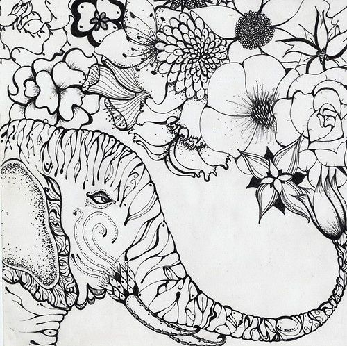 elephant flower spray Adult Colouring Elephants