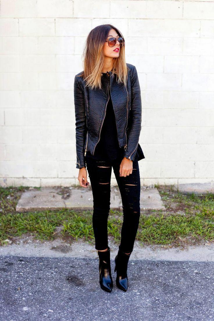 veste en cuir femme 38 id es cool de tenues automne noir. Black Bedroom Furniture Sets. Home Design Ideas