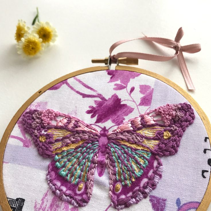 Trying to find that perfect gift? This hand embroidered butterfly hoop art is the perfect gift for any butterfly lover, young girl, new baby or for the mum to be. It is ready to ship now!