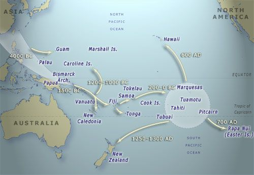 Pacific migration routes - The ancestors of modern-day Māori made their way from the South-East Asian and Micronesian regions into what came to be known as Polynesia in the Pacific. They traveled northwards to Hawaii and to Rapanui (Easter Island) in the east. They also made their way to New Zealand.