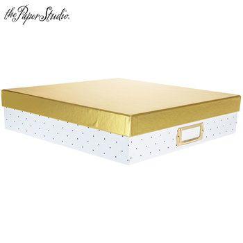 "Gold & Polka Dot Storage Box - 12"" x 12"""