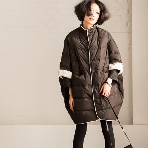Korean Style Plus Size Loose Rabbit Hair Down Jacket Women Coats Y2369A