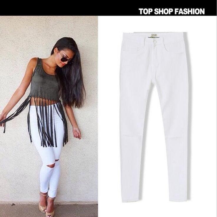 Plus Size Women Jeans 2016 New Women's Denim Pants Popular Street Black And White Slim Waist Stretch Knee Hole Jeans For Women
