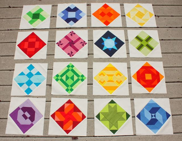 Kona Solids quilt blocks - Diary of a Quilter