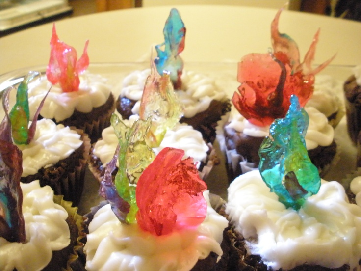 """Tray of cupcakes with various candy toppers I shaped into """"Chihuly-type"""" decorations"""