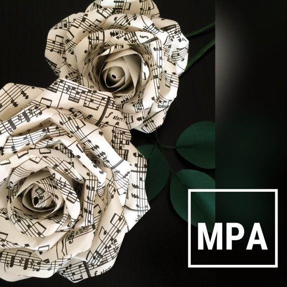 Blad Muziekpapier bloemen - bruiloft receptie Decor - Centerpieces bruiloft - papier bloemen boeket - bladmuziek Roses - Decor van het huis