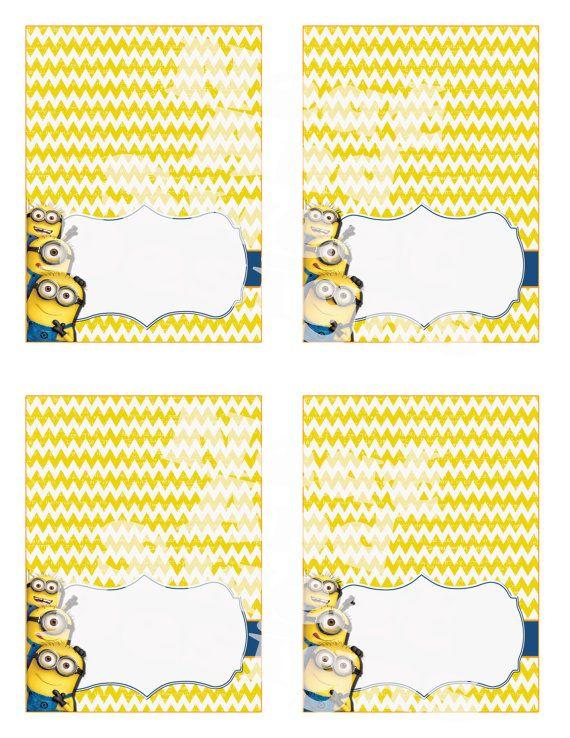 Printable Despicable Me Minion Food Tents Minion Birthday ...