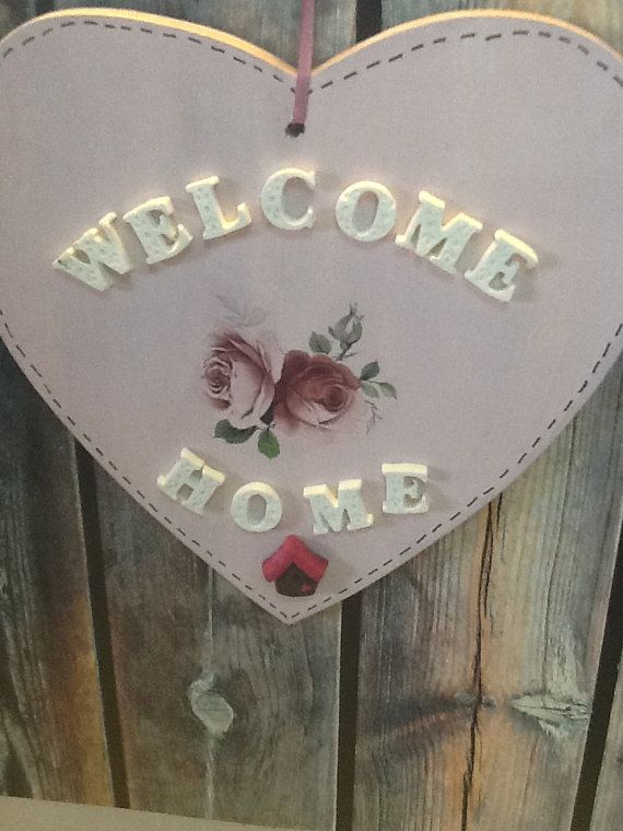 Home Decor  welcome  home  wall hanging   sabby chic by AhuvaVizel