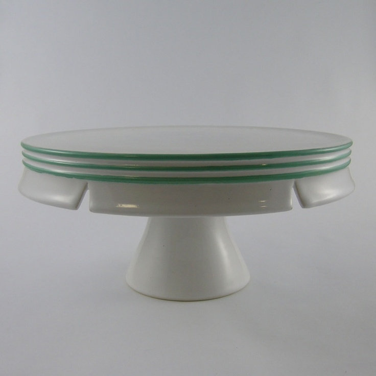 12 inch cake stand with green stripes extra large whitney smith pottery on etsy