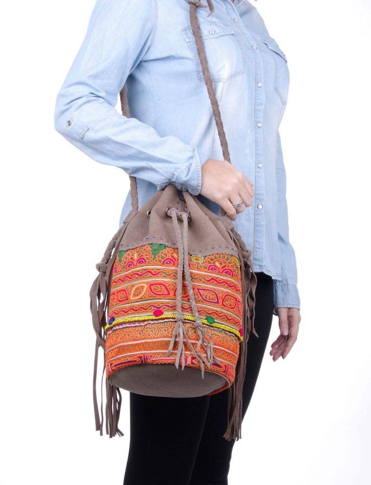 BAMYAN Bolso saco piel vuelta afgano con telar bordado a mano
