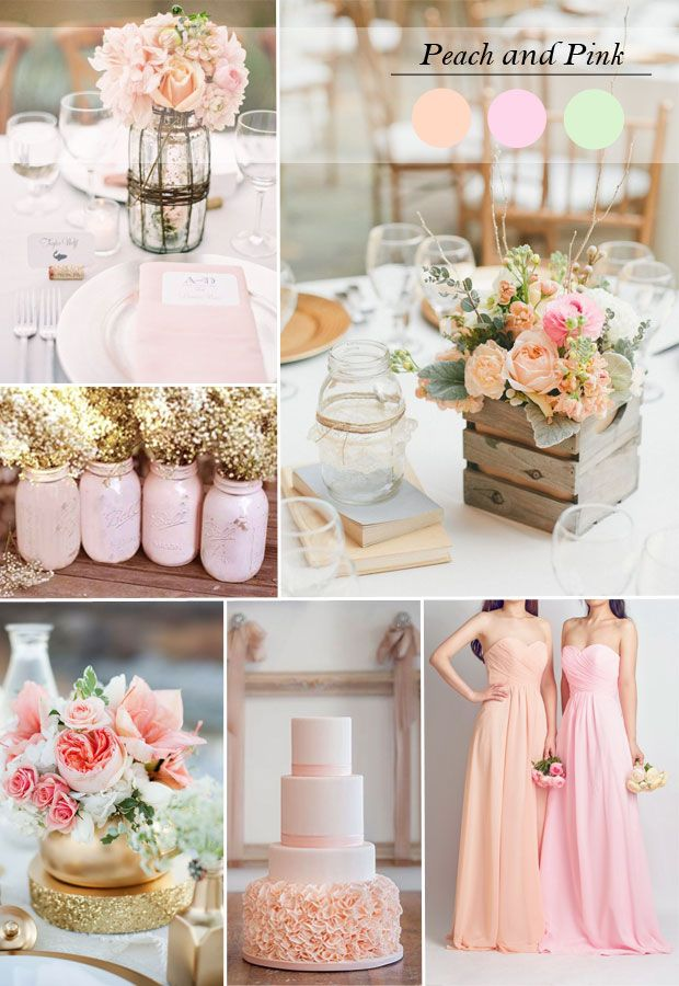 spring/summer wedding ideas 2015 - peach and pink wedding color inspiration and long bridesmaid dresses styles