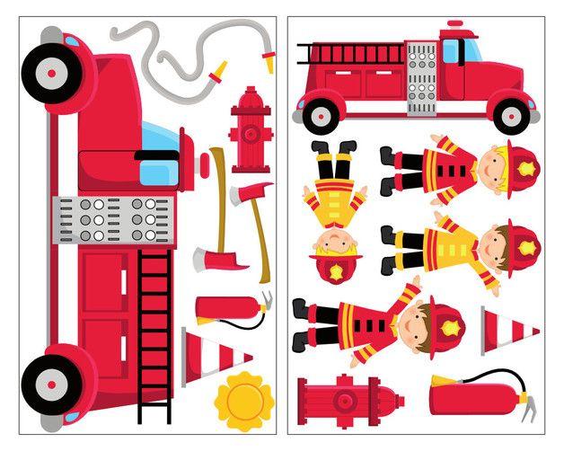 *17-teiliges Feuerwehr Wandtattoo Set 2x 16x26cm* Das Feuerwehr Wandstickerset enthält 17 unterschiedliche Aufkleber (unter anderem 2 Feuerwehrautos, 4 Feuerwehrmänner, Äxte, Schläuche und mehr)...