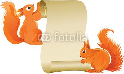 Squirrels holding scroll