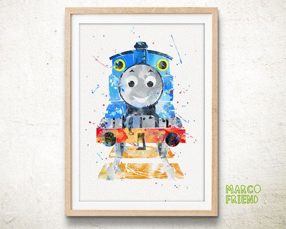 Thomas the Tank Engine Watercolor Poster Print by MarcoFriend