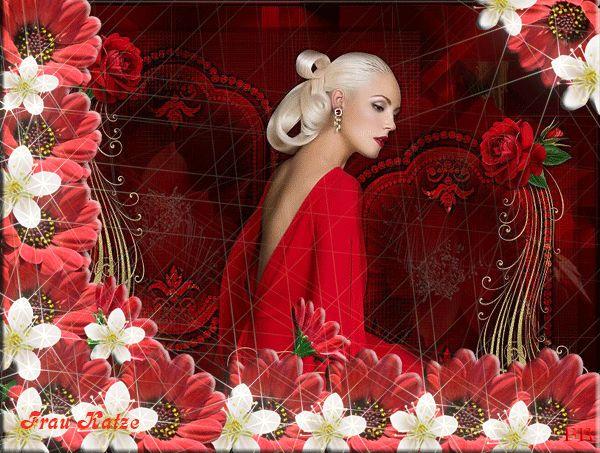 Картинка Gif Девушки Красные и белые цветы
