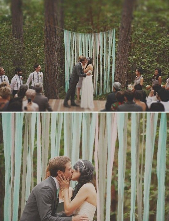 Crepe Paper simple cheap decorations that really make it festive Here's a Bunch of ideas on this website: Idea, Crepes Paper, Ceremony Backdrops, Backgrounds, Weddings Ceremony, Forests Weddings, Paper Streamers, Ribbons Backdrops, Altars