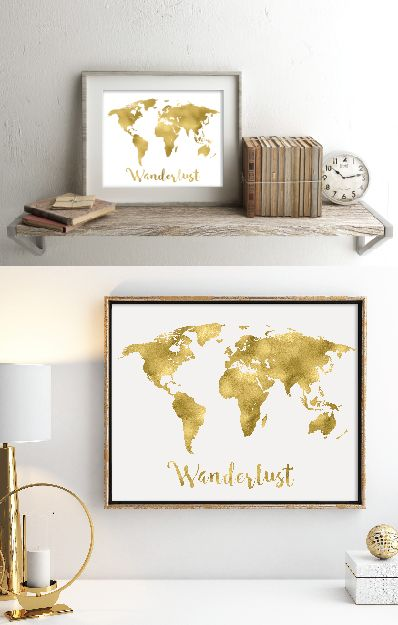 11 inch by 14 inch Wanderlust gold foil art print featuring full world map. Real gold foil printed on archival quality extra-heavy matte cardstock. Beautiful and on-trend wall decor. Available on Amazon.com with free 2-day shipping for Prime Members for under $20.00. Beautiful Christmas gift for the travel lover in your life. Gift wrapping available as well.