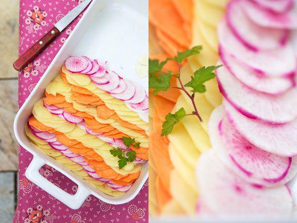 gratin dauphinois- I used yams, yukon golds and purple potatoes ...