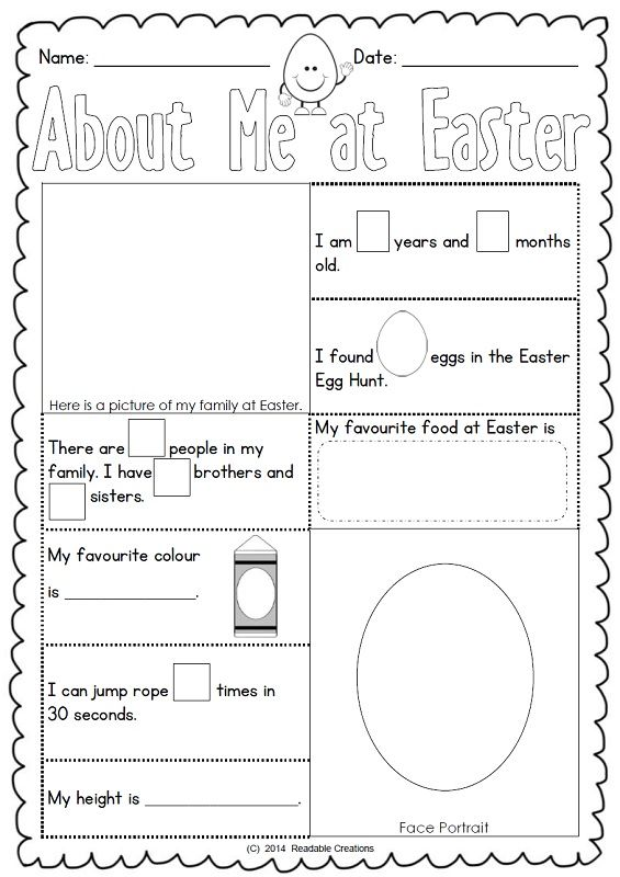 This free Easter activity sheet is a variation of the 'About Me' sheet in 'About Me - Literacy Resource {AU Version}'.