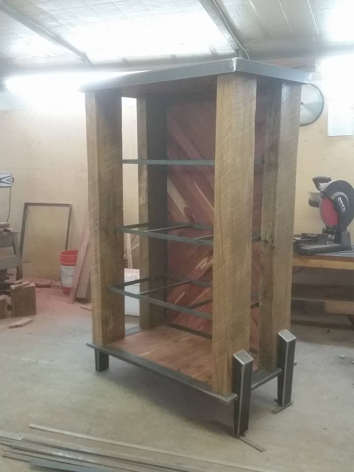 Custom whiskey cabinet in the build process...still need to build the hinges and handles.  Add glass and lights. #handmade #metalfred