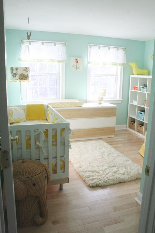 yellow and aqua nursery
