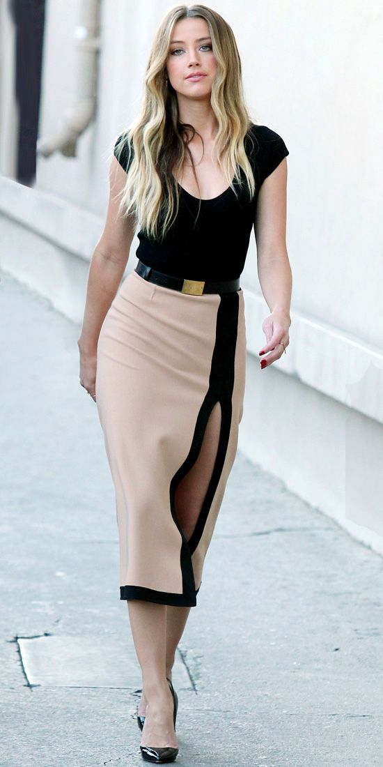 amber heard with thigh high slit skirt | Amber Heard - Look of the Day - In Style,  Love the skirt!!