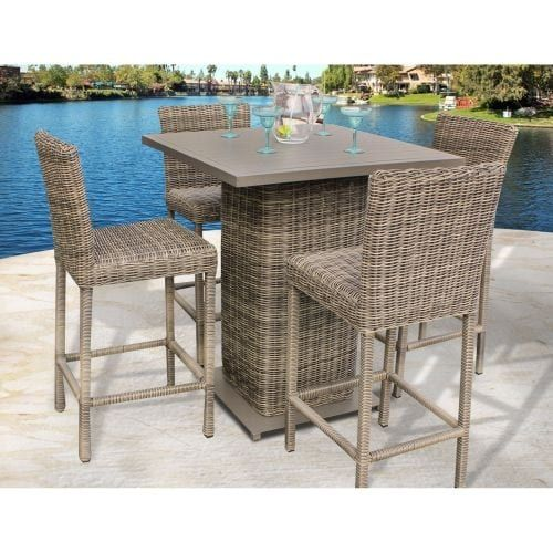 Miseno MPF-Cpcdpubkit-4 Nantucket 5-Piece Aluminum Framed Outdoor Pub Set and Solid Back Barstools, Vintage Stone Wicker, Outdoor Décor