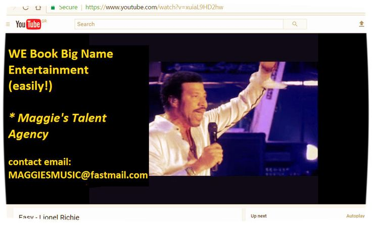 WE Book Big Name Entertainment  (easily!)  Maggie's Talent Agency   contact email: MAGGIESMUSIC@fastmail.com   re availability and price  #bookings #ontour  http://bit.ly/2fcFpFA   WE Book Big Name Entertainment. http://bit.ly/2hVo1tS http://bit.ly/2fcFpFA  Maggie's Talent Agency WE Book Big Name Entertainment. http://bit.ly/2hVo1tS http://bit.ly/2fcFpFA CORPORATE EVENT BOOKING AGENCY CELEBRITY TALENT BOOKING  MAGGIE'S TALENT AGENCY ABOUT us: Corporate Event Booking Agency Celebrity Talent…