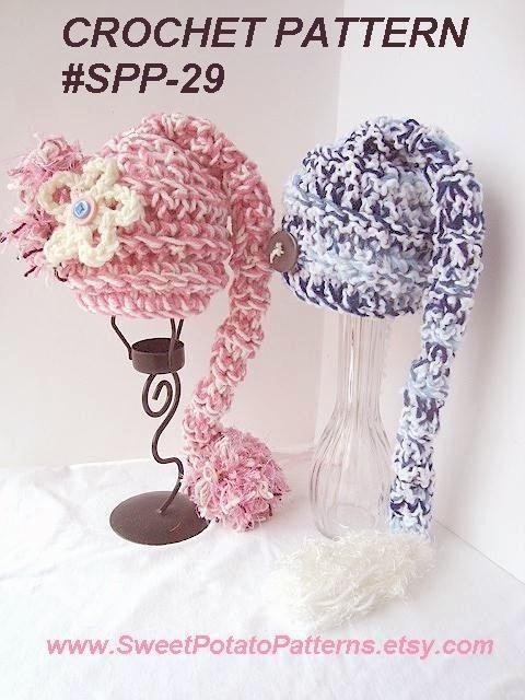 Crochet Pattern: Long Tailed Pixie Munchkin hat SPP-29. Sizes from newborn to adult  - beginner level. #3CC