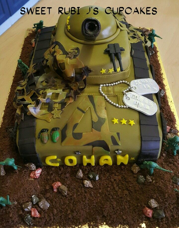 Army tank cake. facebook.com/sweetrubijscupcakes
