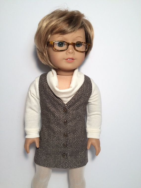 Brown and cream jumper by QTPiedollclothing on Etsy. Made with the Genoa Jumper pattern. Find it here http://www.pixiefaire.com/products/genoa-jumper-18-doll-clothes. #pixiefaire #genoajumper