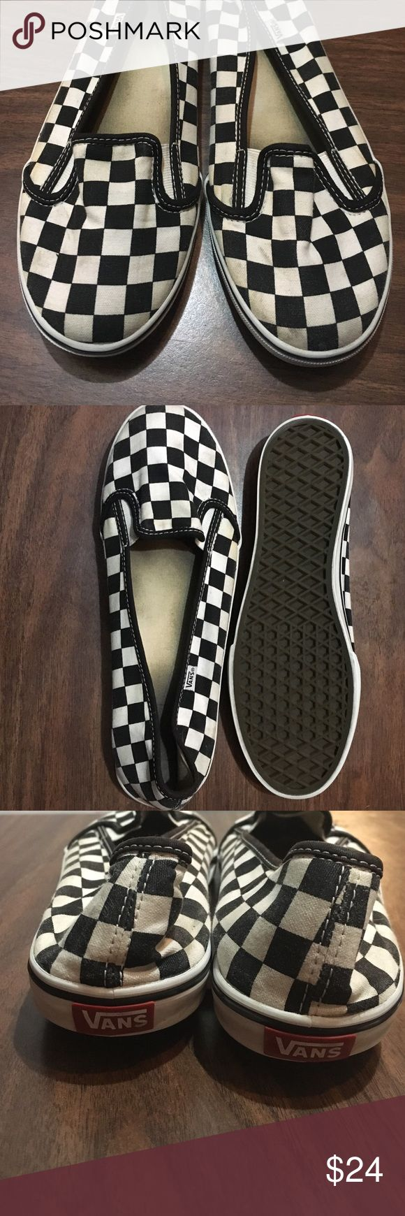 Vans Checkerboard Slip-On Flats Pair of Vans girly slip ons. Classic checkerboard pattern. Very clean on the outside, size 9! Vans Shoes Flats & Loafers