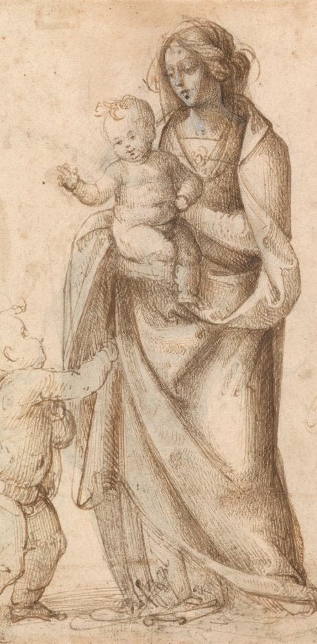 Drawing by Fra Bartolomeo (1473-1517), ca 1515, Madonna and Child with Saint John the Baptist. (Florence)
