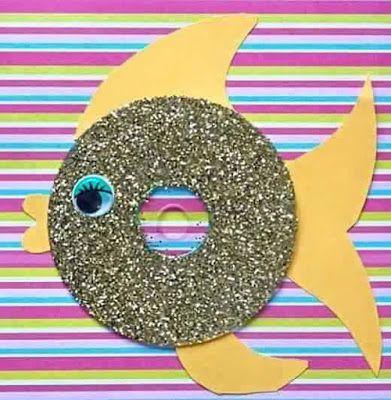 Peixe feito com cd reciclado e glitter - ESPAÇO EDUCAR