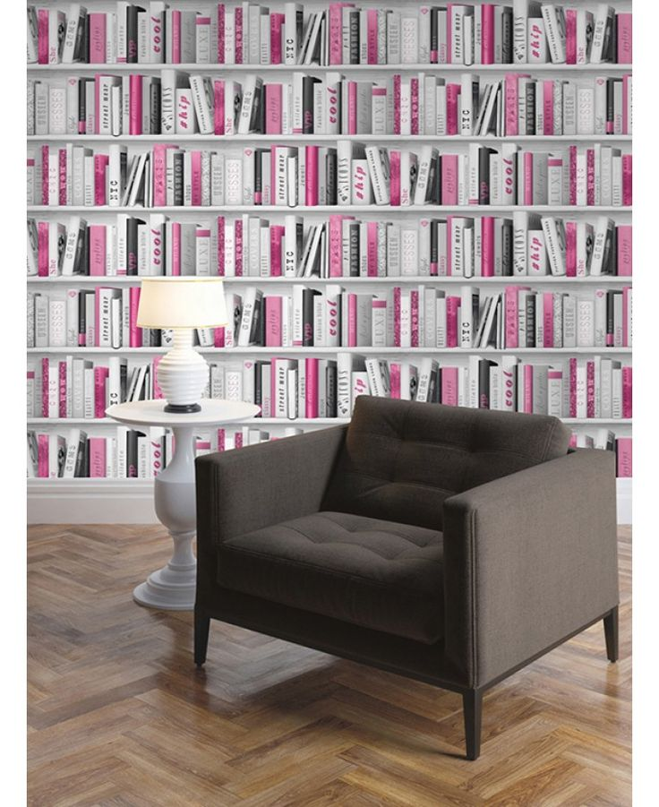 bookcase library feature bookshelf pink bookcases walls glitter wall bedroom muriva bookshelves paper modern rooms effect themed pricerighthome backgrounds entire