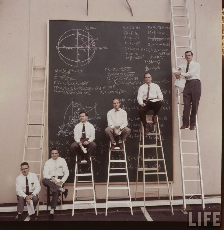 NASA Before Powerpoint – Scientists With Their Board of Calculations, 1961