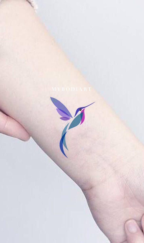 c8c71ca86 Watercolor Hummingbird Wrist Tattoo Ideas for Women - Beautiful Colorful  Color Block Bird Arm Tat - ideas coloridas del tatuaje de la muñeca del  colibrí de ...