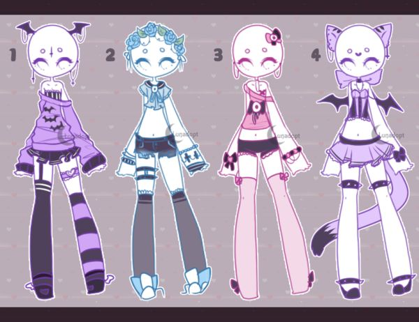 Auction Adopt: Pastel outfits CLOSED by Lunadopt on DeviantArt